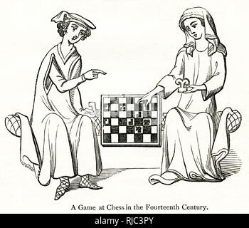 Otto IV, margrave of Brandenburg, depicted playing chess with his wife Hedwig von Holstein. - Stock Image