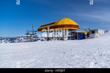Top station of a chairlift in winter, built by Garaventa, located in the Stoos winter sports area, Switzerland, - Stock Image