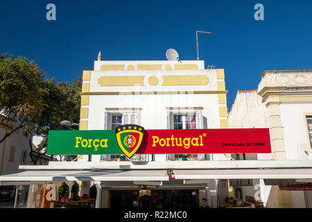 The Sports Store Forca Portugal Football Apperal Retail Shop In Albufeira Old Town Algarve Portugal - Stock Image