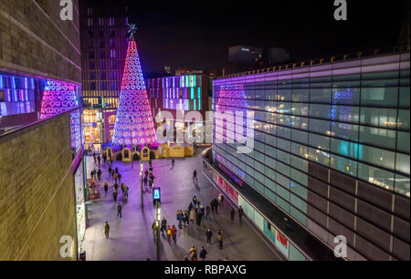 Giant illuminated christmas tree at liverpool One shopping centre, Merseyside, England, UK. - Stock Image