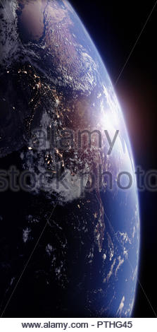 Sun rising over India from space - Stock Image