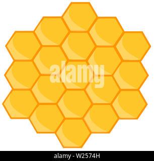 beehive honeycomb bee food  breakfast honey  natural illustration - Stock Image