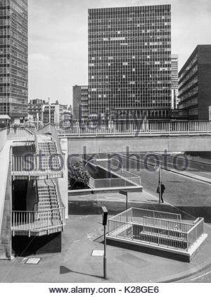 City Tower, St Alphage House and St Alphage Highwalk, London Wall, Barbican, City of London, UK – 1970 - Stock Image