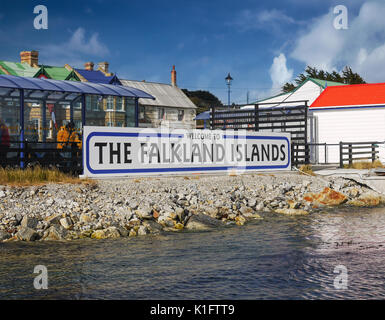 Welcome to the Falkland Islands welcome sign at cruise ship passenger jetty. Stanley, Falkland Islands, South Atlantic Ocean. - Stock Image