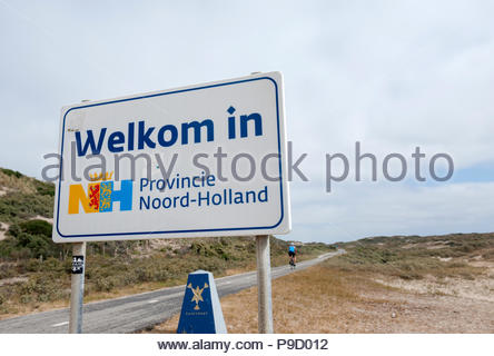 Zandvoort The Netherlands Cycle path along the Dutch North Sea. Sign Welkom in Noord Holland. - Stock Image