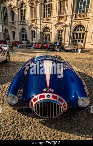 Piedmont Turin - Turin auto show 2019  - Valentino park - Valentino castle - Osca MT4 1450 - Stock Image