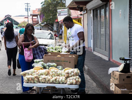 Fruit and Vegetable stall in Saint John's, Capital of Antigua and Barbuda - Stock Image