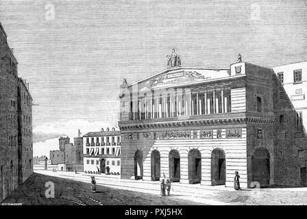 The front of the Theatre San Carlo in Naples.       Date: 1837 - Stock Image