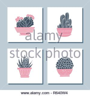 Set of cute hand drawn card templates with cacti and succulents - Stock Image
