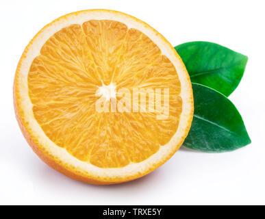 Orange fruit and orange leaf isolated on white background. - Stock Image