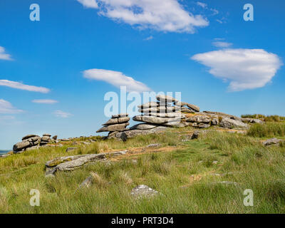 Massive granite tors on Stowe's Hill, Bodmin Moor, Cornwall, UK on a bright sunny day. - Stock Image