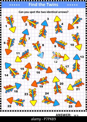 IG training visual puzzle with colorful arrows (suitable both for kids and adults): Can you spot the two identical arrows? Answer included. - Stock Image