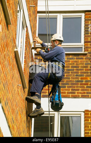 Abseil worker pointing brickwork - Stock Image