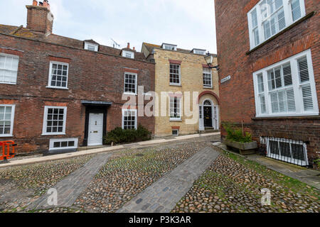 Cobbled surface in West st, Rye, East Sussex, England, UK - Stock Image