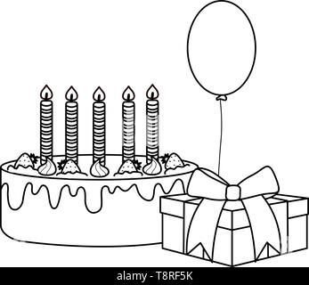 gift box with sweet cake and balloon helium floating vector illustration design - Stock Image