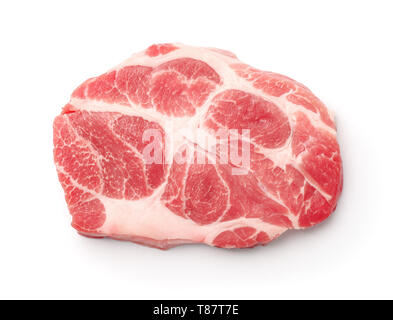 Top view of raw fresh pork neck meat steak isolated on white - Stock Image
