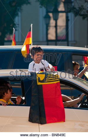 German Football fans celebrate a win during the 2010 Wold cup. - Stock Image