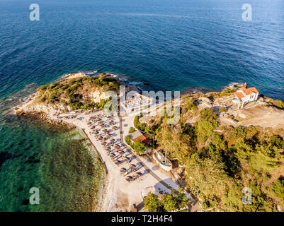 Aerial view of one of Thasos Island most popular beaches Karnagio Beach near Limenas Town - Stock Image