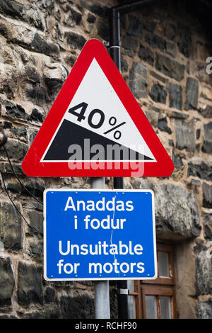 Ffordd Pen Llech, Harlech, Gwynedd, which local residents re claiming to be  the steepest street in the world, and have put in a bid for this statuus with the Guiness Book of Records  The steepest 10-metre section [the crucial distance for the world record] is 39.25%  January 2019 - Stock Image