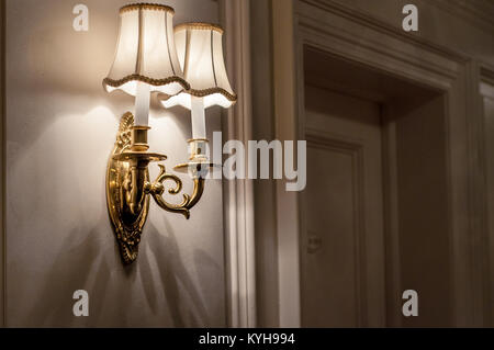 Titanic- First class corridor, detail of a decorative lamp. - Stock Image