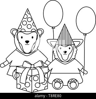 monley and sheep with gift and balloons helium in birthday party vector illustration - Stock Image