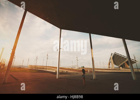 Wide angle shoot of modern contemporary asphalted area with for extreme sports, recreation and parkour in Barcelona - Stock Image