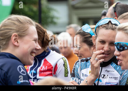 Riders waiting for their team presentation at the start of the Ovo Women's Tour - Stock Image