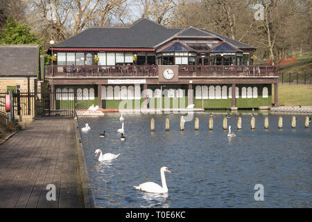 The Lakeside Café and boathouse in Roundhay Park, Leeds, West Yorkshire, England, UK - Stock Image