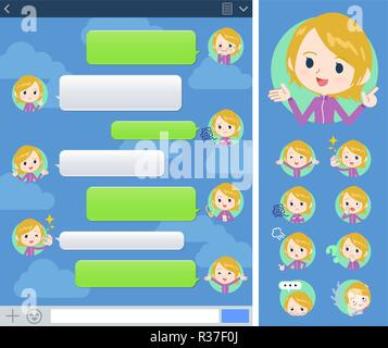 A set of women in sportswear with expresses various emotions on the SNS window.There are variations of emotions such as joy and sadness.It's vector ar - Stock Image