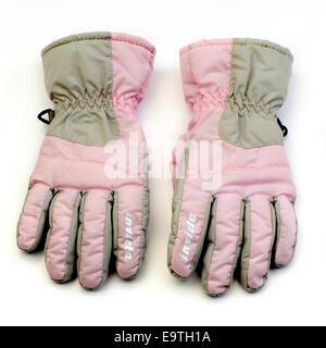 pink kids gloves - Stock Image