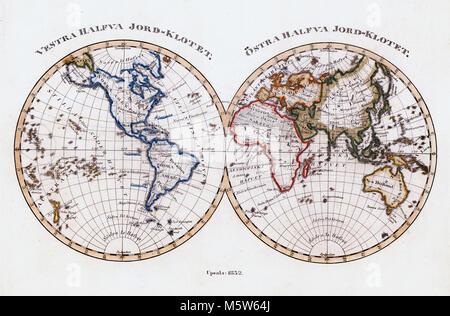 1844 Stieler Map - World in Hemispheres - Europe Africa Asia  Australia North & South America - Stock Image