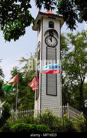 Atkinson Clock Tower still stands as a memorial to a colonial officer taken by malaria in Jesselton, (Kota Kinabalu), British North Borneo (Sabah) - Stock Image