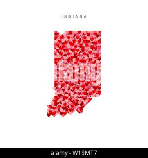 I Love Indiana. Red and Pink Hearts Pattern Vector Map of Indiana Isolated on White Background. - Stock Image