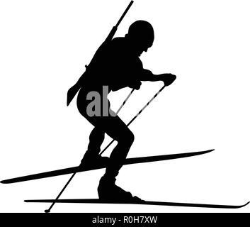 Biathlon sportsman silhouette. Black on white.  Vector illustration. - Stock Image