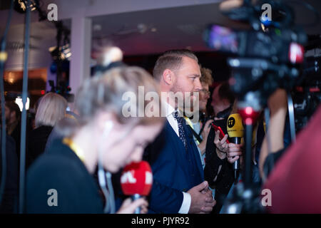 Stockholm, Sweden, September 9, 2018. Swedish General Election 2018.  Election Night Watch Party for Sweden Democrats (SD) in central Stockholm, Sweden. Mattias Karlsson (SD). Credit: Barbro Bergfeldt/Alamy Live News - Stock Image