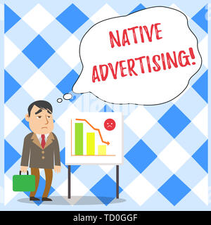 Word writing text Native Advertising. Business photo showcasing Online Paid Ads Match the Form Function of Webpage Businessman Clerk with Brief Case S - Stock Image