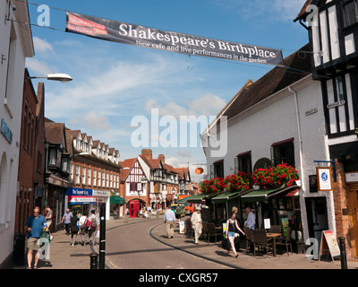 Henley Street which is the birthplace of William Shakespeare in Stratford upon Avon in England - Stock Image