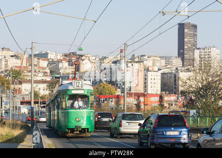 Belgrade cityscape - view of the Old Town (Stari Grad) and an old green tram. - Stock Image