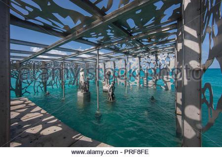 Statues of the Coralarium in Maldives - Stock Image