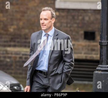 London 10th July 2018, , Dominic Raab, new Brexit Secretary,arrives at Cabinet meeting at 10 Downing Street, London Credit Ian Davidson/Alamy Live News - Stock Image