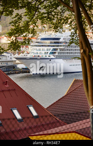 Ferry in port - Stock Image