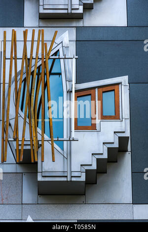 A window of the Scottish Parliament Building (by Enric Miralles 2004), Holyrood, Edinburgh, Scotland, UK - Stock Image