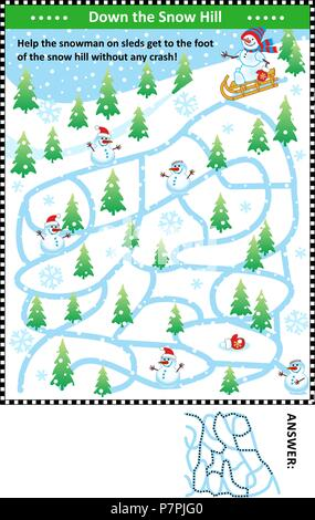 Winter maze game: Help the snowman on sleds get to the foot of the snow hill without any crash! Answer included. - Stock Image