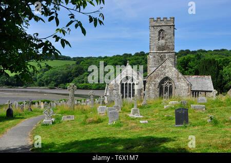 St Winnow church , overlooking the River Fowey,Cornwall, England, United Kingdom - Stock Image