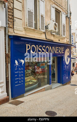 Annonay, Ardeche department in the Rhone Alps region and the front of a poissonnerie or fish seller - Stock Image
