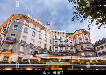 Schweiz, Kanton Genf, Genf, Stadt, Hotel Beau-Rivage, Luxushotel - Stock Image