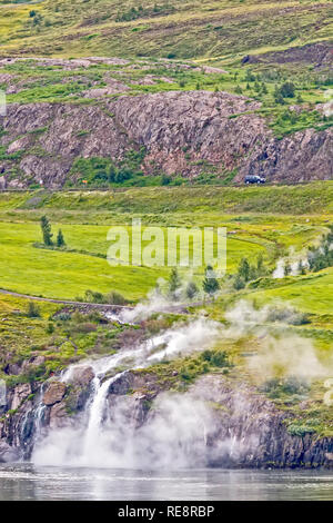 Steaming River Flowing Into The  Sea Akureyri, Iceland - Stock Image