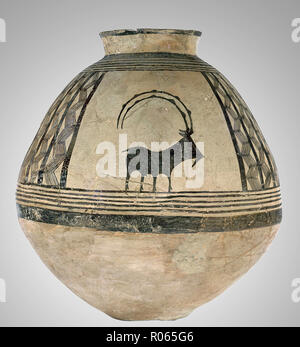 6380. Ceramic Jar decorated with a goat drawing, Iran, Chalcolithic period, 4nd. millennium BC - Stock Image