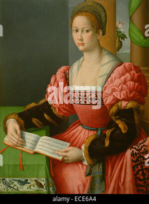 Portrait of a Woman with a Book of Music; Bacchiacca (Francesco Ubertini), Italian (Florentine), 1494 - 1557; about - Stock Image