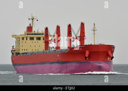 Santa Angelina bound for Hamburg on it's maiden voyage. - Stock Image